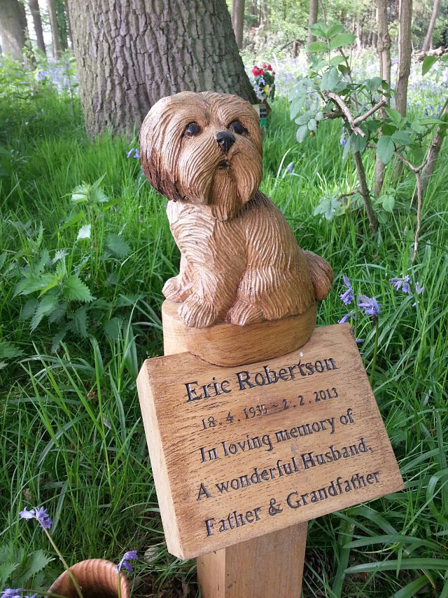 carved oak dog memorial